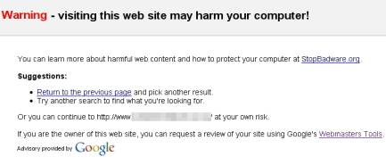 Google Website Warning
